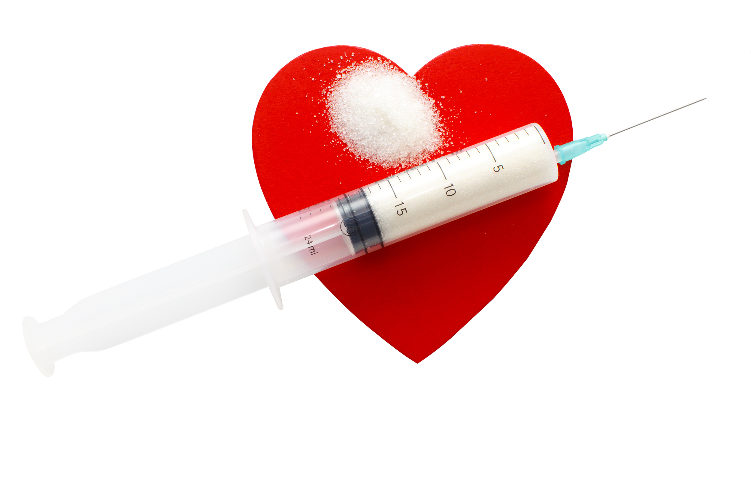 A syringe with sugar set on a heart, depicting diabetes and heart disease. (iStock Image)