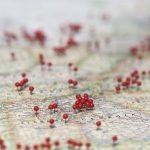 A map with pins in it, showing unspecified locations. (iStock Photo)