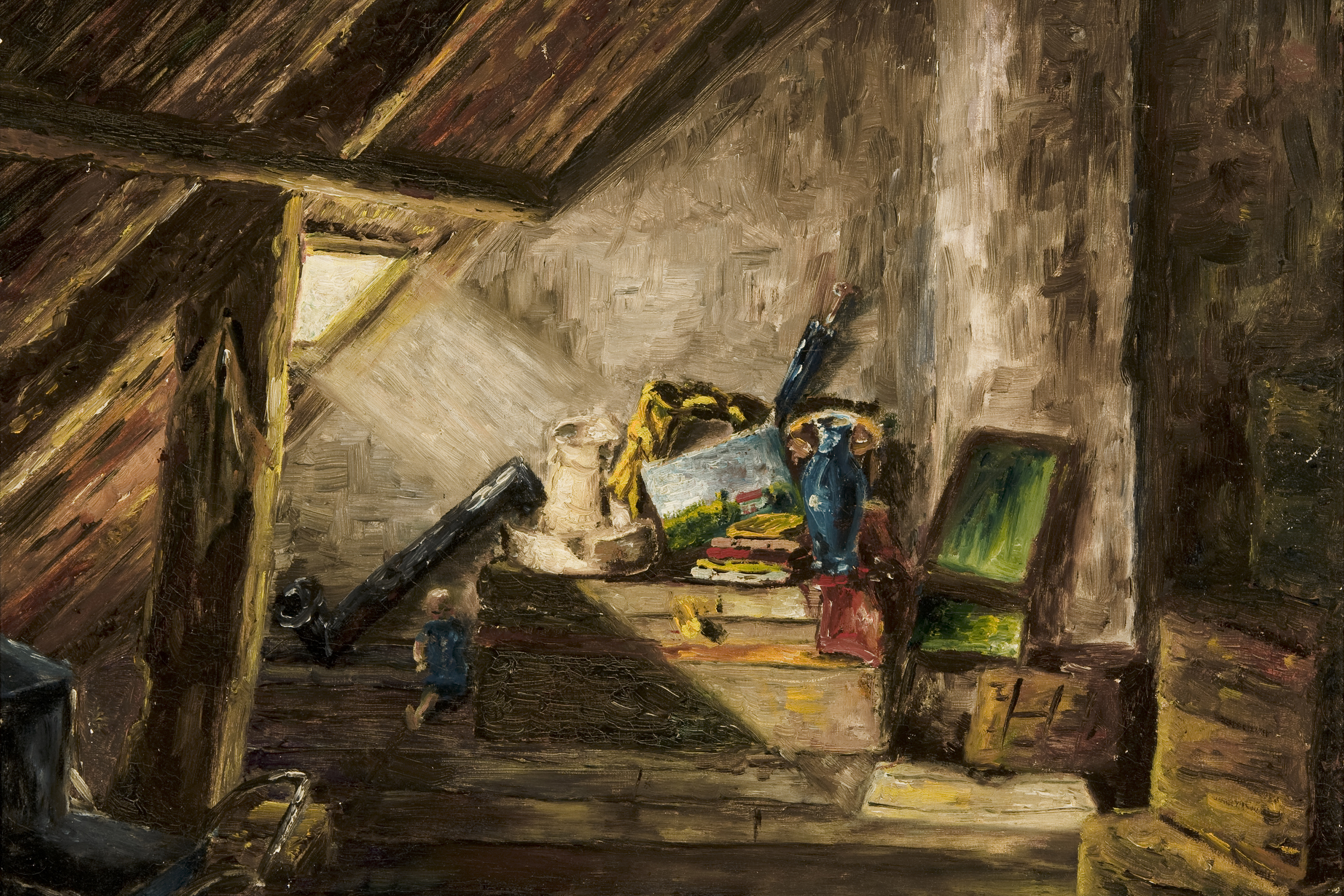 Painting of an attic view drawn by a Jewish teenager while in hiding during the Holocaust. (U.S. Holocaust Memorial Museum, courtesy of Eva Schloss)