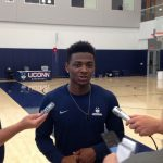 Freshman Alterique Gilbert of the men's basketball team speaks with the media. (Athletic Communications Photo)