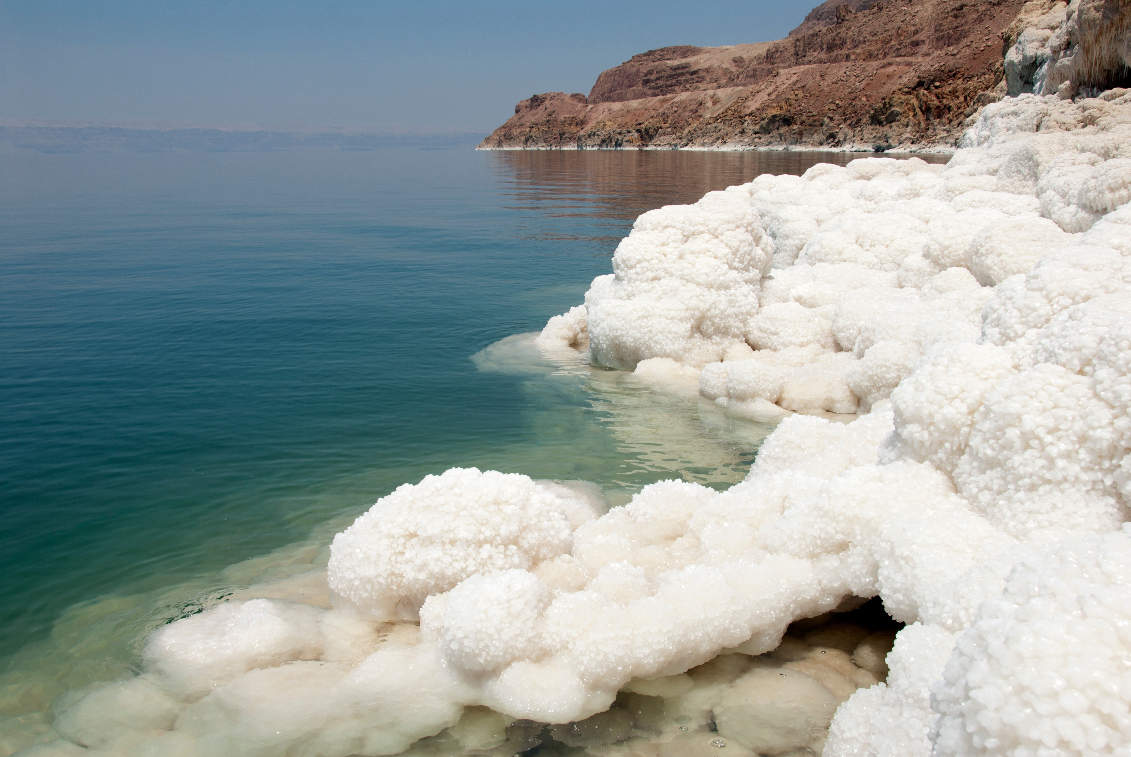 Salted water in the Dead Sea with salt crystals. (iStock Photo)