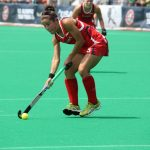 Melissa Gonzalez playing with the U.S. Field Hockey Team. (Photo by Mark Palczewski)