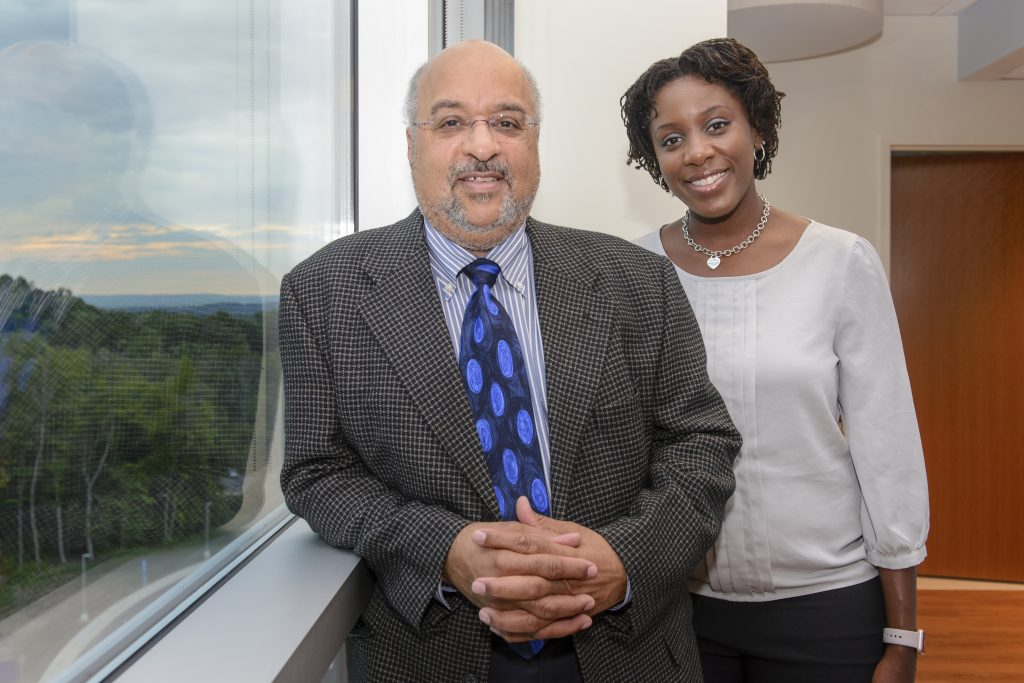 Dr. Winston Campbell, left, and Dr. Courtney Townsel at UConn Health. (Janine Gelineau/UConn Health Photo)