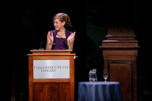 President Susan Herbst introduces the Humility in Politics forum at the Folger Shakespeare Theater in Washington, D.C. (Photo by Garrett Hubbard, GH studios.)