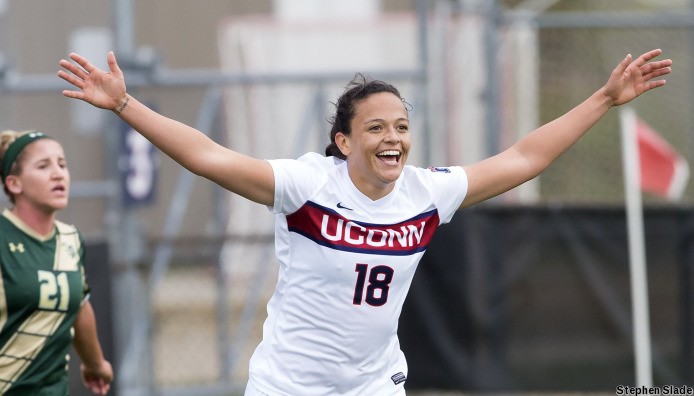 UConn women's soccer team claimed the 2016 American Athletic Conference with two goals from senior Stephanie Ribeiro. (Stephen Slade '89 (SFA) for UConn)