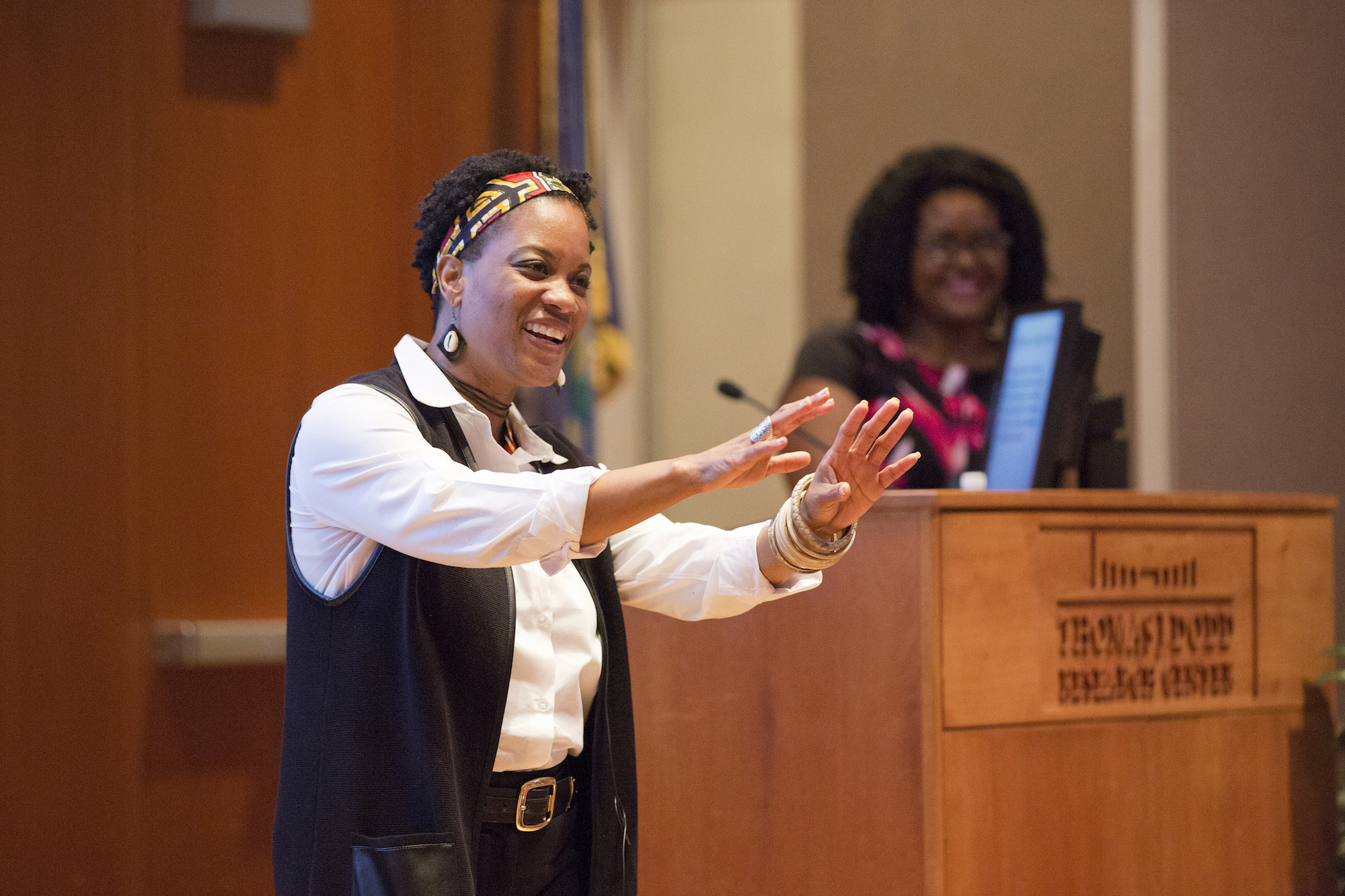 Julia Jordan-Zachery '97 Ph.D., Director of Black Studies at Providence College, speaks at the launch event of the Collaborative to Advance Equity Through Research on Women and Girls of Color on 9.28.2016. (Bri Diaz/UConn Photo)