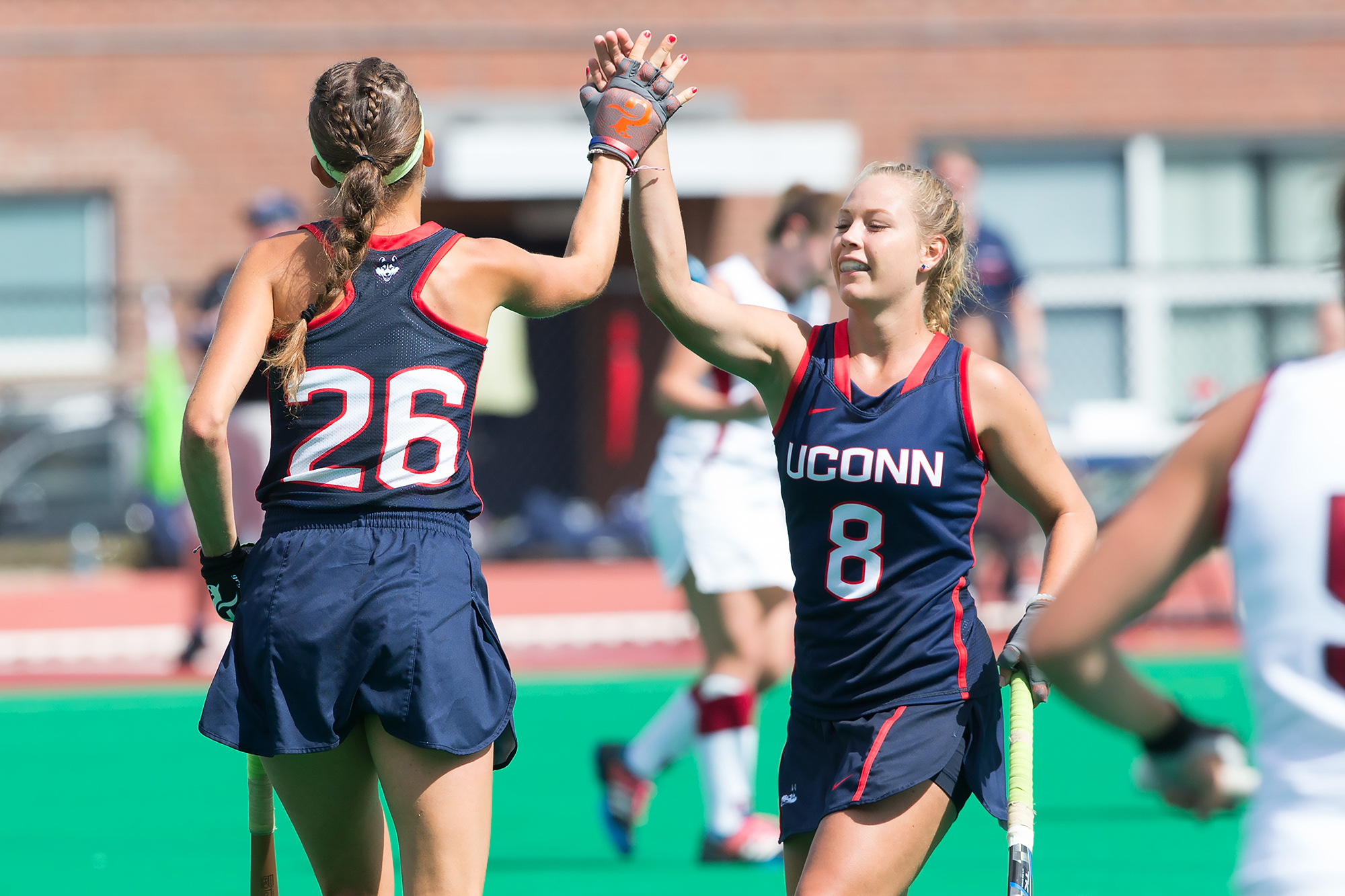 The Huskies won the Big East Field Hockey regular season title on Oct. 21 with a 5-3 win over Georgetown. (Stephen Slade '89 (SFA) for UConn)
