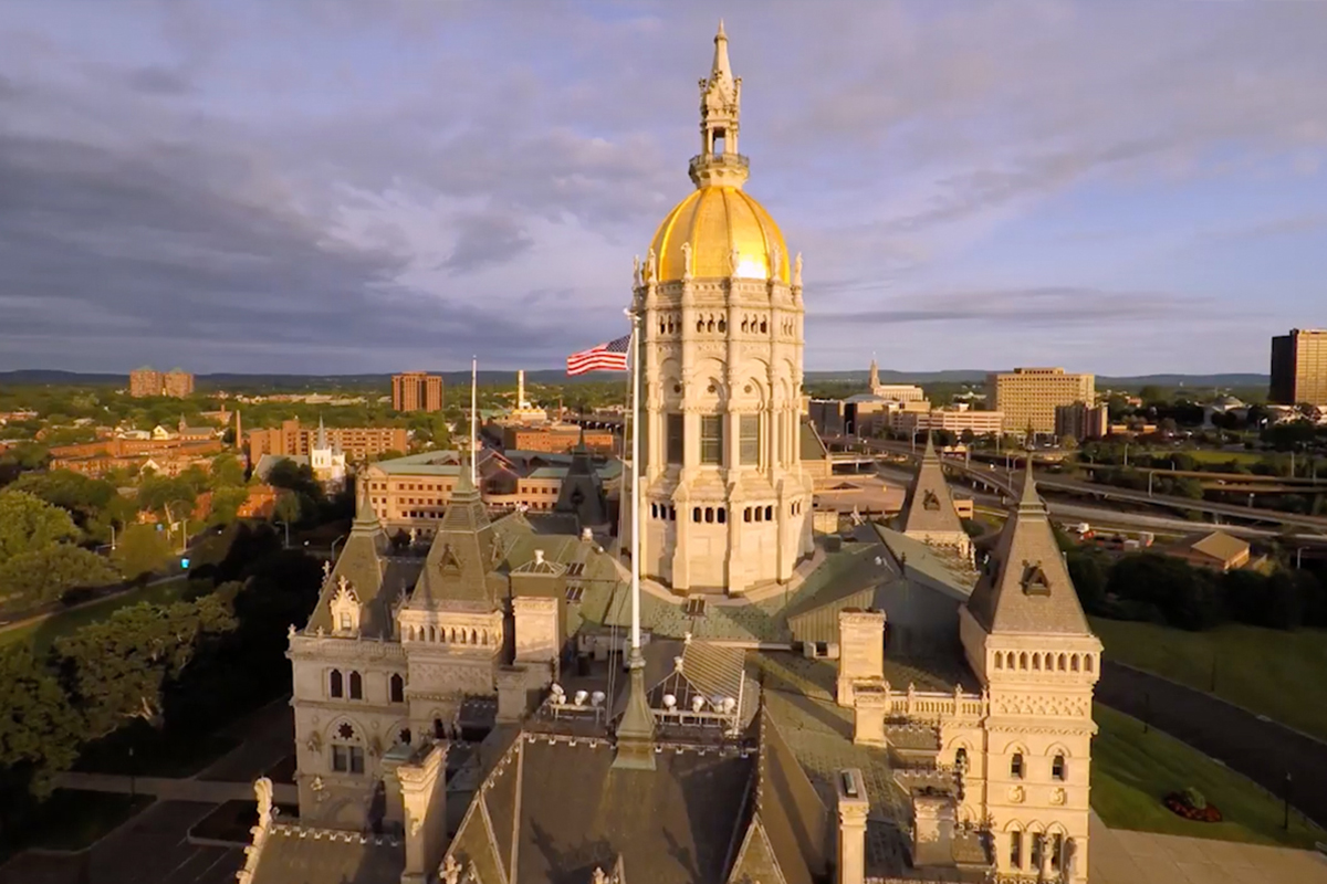A view of the State Capitol building. The new Downtown Hartford Campus will be integrated with the city's businesses, government, and cultural resources. (Elizabeth Caron/UConn Photo)(Elizabeth Caron/UConn Photo)