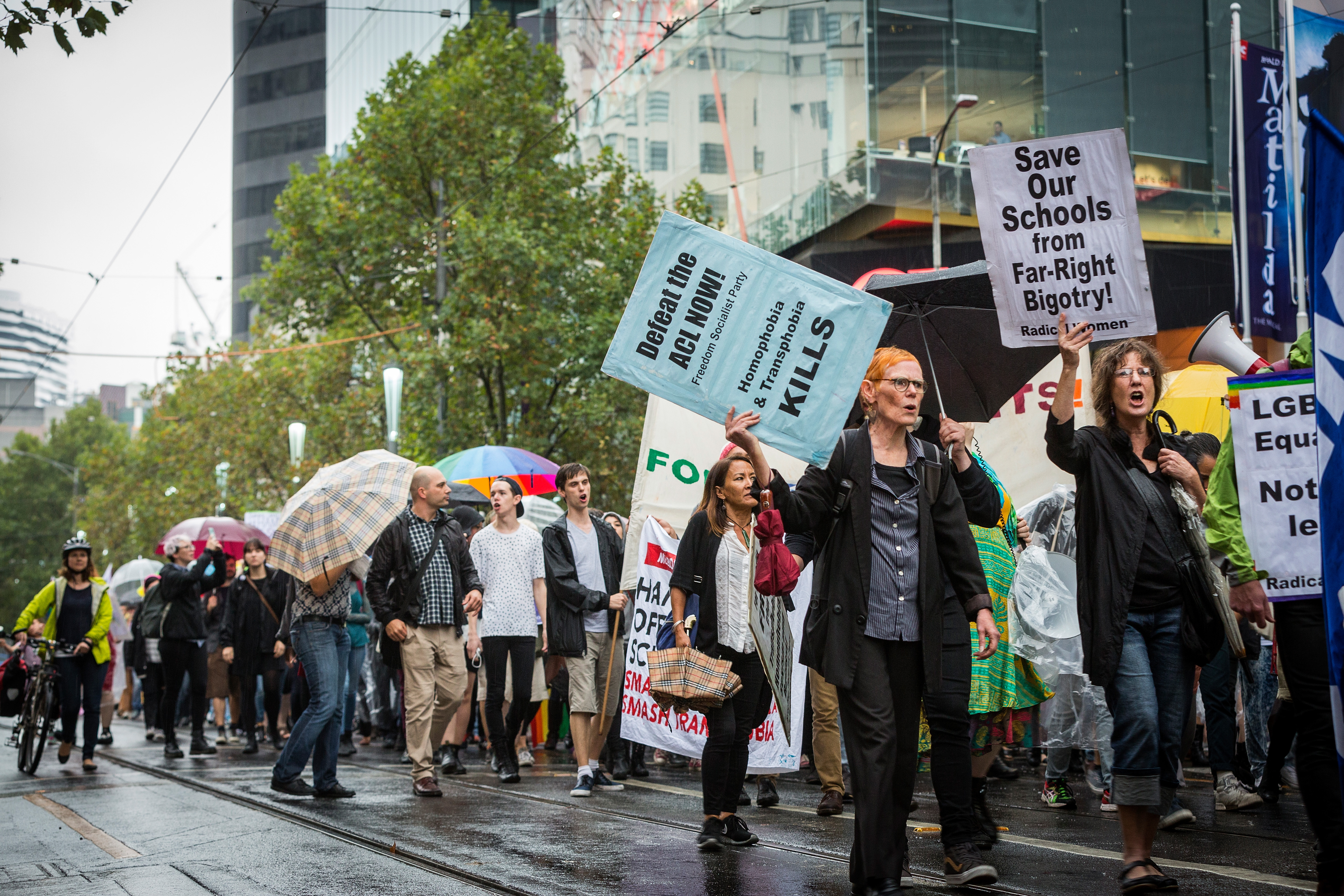 rotesters attend the Hands Off Safe Schools Rally on Swanston Street on March 10, 2016 in Melbourne, Australia. The Hands Off Safe School has been designed as a resource for teachers and students to assist with issues of homophobia and bullying. (Photo by Chris Hopkins/Getty Images)