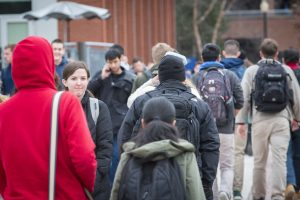 Group of students walking along the Student Union Mall on Jan. 17, 2017. (Sean Flynn/UConn Photo)