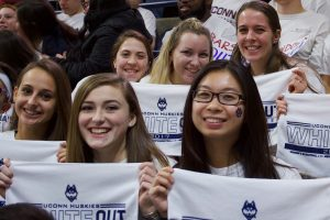 Fans displayed the white rally towels that were placed on every seat in Gampel Pavilion. (Jack Templeton/UConn Photo)