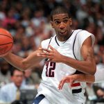 Rip Hamilton's No. 32 has been retired and raised to the rafters by the Detroit Pistons. He is the first UConn men's basketball alum to be so honored by an NBA team. (Athletic Communications File Photo)
