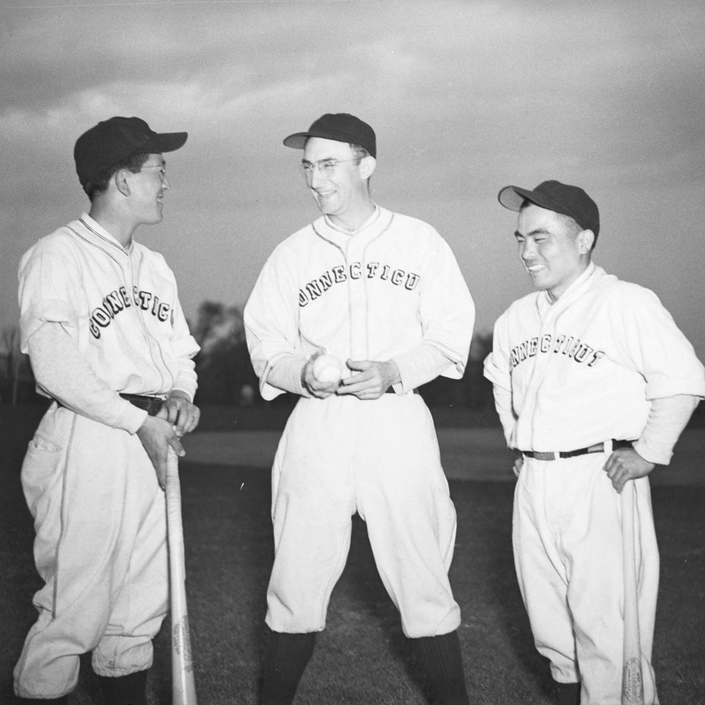 Japanese American students were included on the University of Connecticut's baseball team in 1943. (Archives & Special Collections, UConn Library)