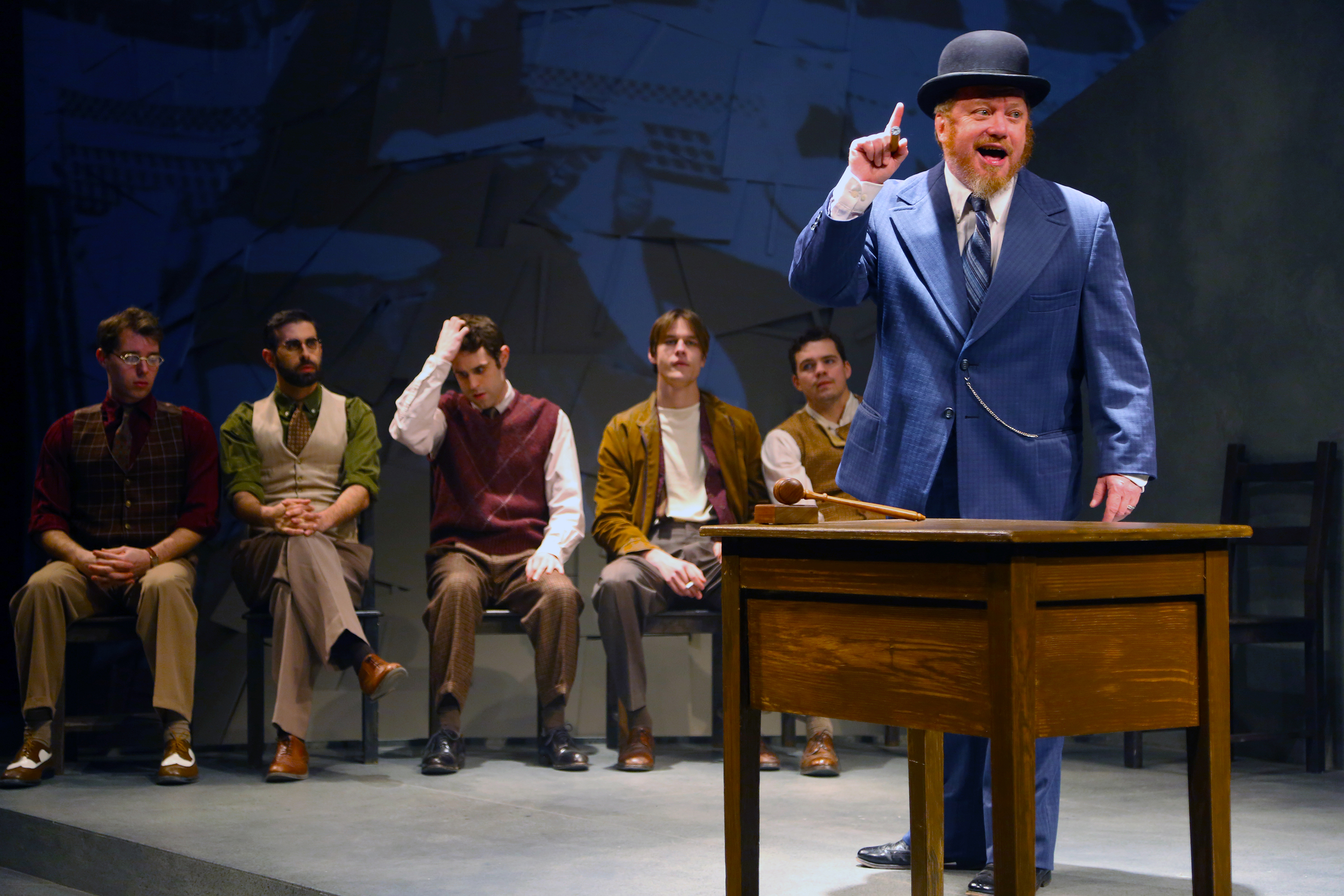 Guest artist Michael Lewis (Harry Fatt) is the union leader in Connecticut Repertory Theatre's production of 'Waiting for Lefty' by Clifford Odets, onstage through March 5 at Nafe Katter Theatre. (Gerry Goodstein for UConn)