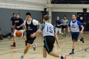 UConn students play intramural basketball at the Greer Fieldhouse on Feb. 2, 2017. (Garrett Spahn/UConn Photo)