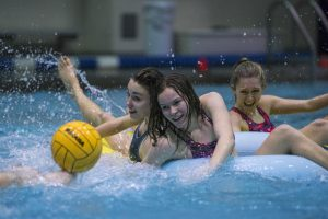 Inner tube water polo game in the student recreation facility on Feb. 1, 2017. (Ryan Glista/UConn Photo)