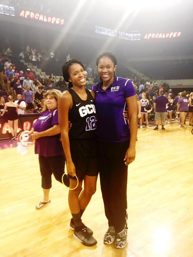 Erika Thomas, left, had the unusual experience of having her sister, Krystal Thomas, as assistant coach at Grand Canyon University.