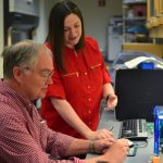 Molecular and cell biology professor Michael Lynes with lab manager Clare Melchiorre. (Taylor Hudak '18 (CLAS, ED)/UConn Photo)