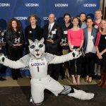 President Susan Herbst and Jonathan the Husky pose with UConn Spirit Awards recipients at the Wilbur Cross South Reading Room on April 25, 2017. (Peter Morenus/UConn Photo