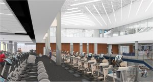 Architectural rendering of the inside of the Recreation Center.