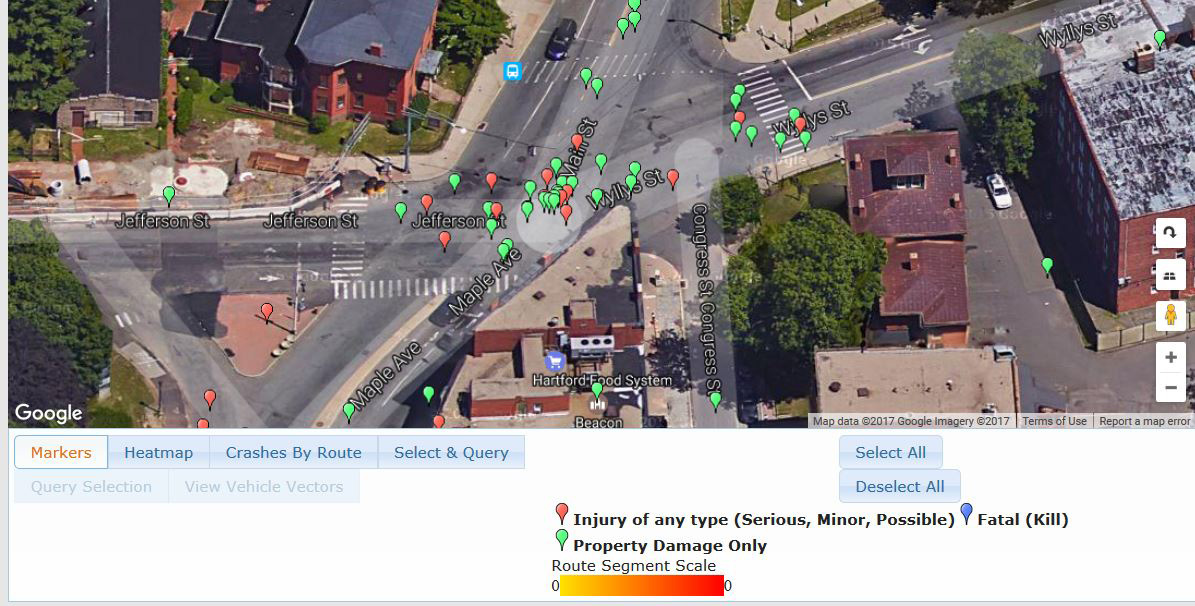 This Hartford injury sat map shows how many accidents with injuries occurred at the intersection of Main Street and Maple Avenue in Hartford, and the location of those accidents.