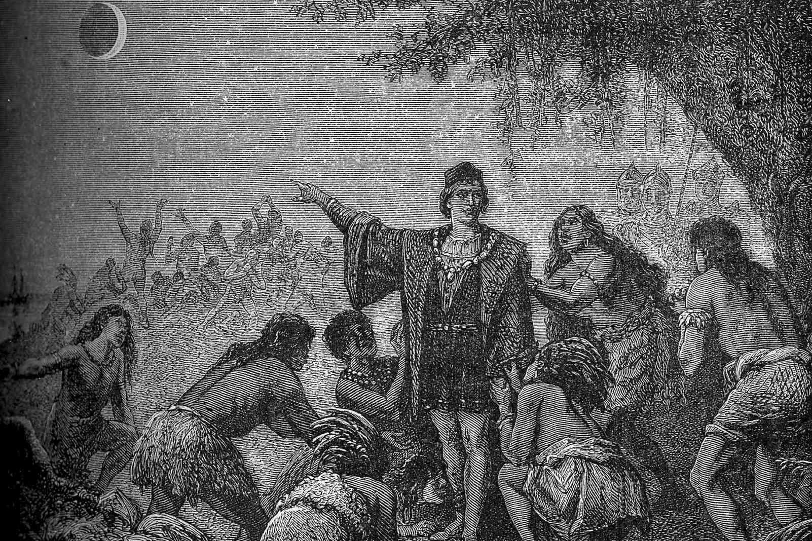 This illustration from 1879 depicts the reaction of a group of indigenous people in South America when the lunar eclipse Christopher Columbus predicted actually happened on Feb. 29, 1504. (Camille Flammarion (Astronomie Populaire 1879) via Wikimedia Commons)
