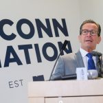 Gov. Dannel Malloy speaks about budget cuts to the University during an event at the student center at the Avery Point campus on Sept. 25, 2017. (Peter Morenus/UConn Photo)