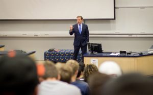 """Sen. Chris Murphy tells engineering students, """"we are all here because this is a groundbreaking partnership"""" between UConn, the Navy and industry. (Christopher LaRosa/UConn Photo)"""