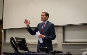 """""""Naval science has never been more important,"""" Sen. Richard Blumenthal told engineering students about growth in the nation's submarine industry. (Christopher LaRosa/UConn Photo)"""