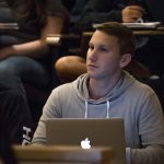 Scott Levene '17 (BUS), Men's Soccer Goalkeeper, attends a COMM 1000 lecture in Laurel Hall. Levene, who says he dreamed of being a UConn Husky since he was 5 years old, excels in the classroom as well as on the field. (Garrett Spahn/UConn Photo)