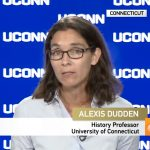 Alexis Dudden, professor of history, discusses the political situation in Japan in UConn's Video Link studio. University Communications recently launched an experts database to help connect media to UConn experts in their fields. (Bret Eckhardt/UConn Photo)