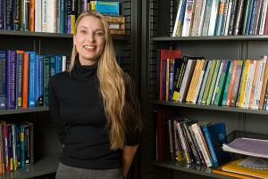<p>Melissa Tafoya, assistant professor of communication sciences, in her office. Photo by Frank Dahlmeyer</p>