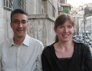 <p>Scott Harding, left, and Kathryn Libal in Amman, Jordan, where they are studying the Iraqi refugee population. Photo supplied by Kathryn Libal </p>