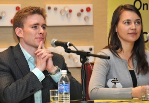 "<p>UConn medical student Dan Henderson competes with Nina Resetkova of Texas Tech University in the final round of the ""Next Top Doc"" radio quiz show. Photo supplied by AMSA</p>"