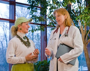 <p>Dr. Cheryl Oncken, right, associate professor of medicine, speaks with Mary Carroll Root, an instructor with Powerful Aging, an exercise program developed at the Health Center. Photo by Lanny Nagler </p>