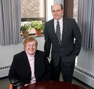 <p>Linda Friedman, program manager, and David Garvey, director of the Nonprofit Leadership Program in the Center for Continuing Studies. Photo by Frank Dahlmeyer </p>