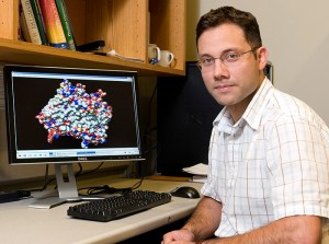 <p>José Gascón, assistant professor of chemistry, one of two faculty in the College of Liberal Arts and Sciences who recently received CAREER awards from the National Science Foundation. Photo by Jordan Bender</p>