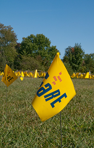 <p>A flag with the message, 'Be Aware, Show You Care,' one of 1,200 flags symbolizing the number of college students lost to suicide each year that have been set up between Babbidge Library and Hawley Armory. The flags are part of a campaign to spread awareness during Suicide Prevention Week Sept. 14-18. Photos by Frank Dahlmeyer</p>