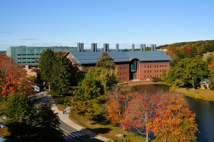 <p>A view of the Storrs Campus, including the Chemistry Building and Swan Lake.</p>