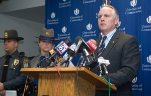 <p>UConn Police Chief Robert Hudd speaks during a press conference  on Tuesday. Photo by Daniel Buttrey</p>