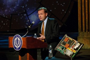 <p>Brian Keane, executive vice president and COO of Blue Sky Studios, speaks at a pre-production event for legislators and representatives of Blue Sky Studios at the Harriet S. Jorgensen Theatre to review the technology behind the CRT production of Galileo. Photo by Peter Morenus</p>