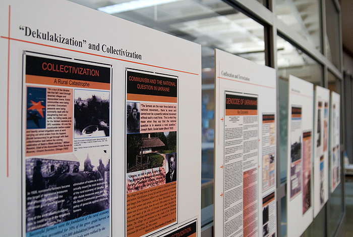 <p>Images from 'The Holodomor Famine and Fiction' exhibition on display at Homer Babbidge Library through Dec. 18. The Holodomor was a famine that ravaged Ukraine and the Kuban region of the USSR in 1932-1933. Up to ten million people starved to death. Photo by Frank Dahlmeyer</p>