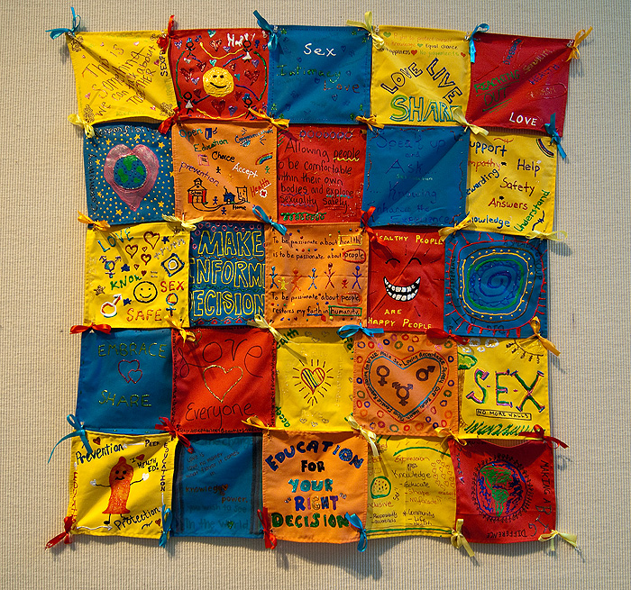 <p>An untitled quilt created by UConn Sexperts on display in the World AIDS Week exhibit at the Student Union Art Gallery. Photo by Frank Dahlmeyer</p>