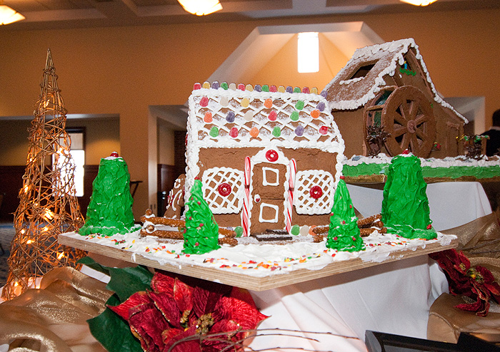 <p>Gingerbread houses on display in Rome Ballroom on Dec. 11. Photo by Frank Dahlmeyer</p>