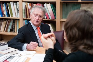 <p>Robert Gross, professor of history, meets with Katherin Siracusa, a senior in the Honors Program. Photo by Peter Morenus</p>