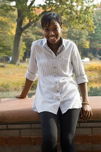 <p>Paula McFarlane, the first student to graduate with a major in African American studies. Photo by Dan Buttrey</p>