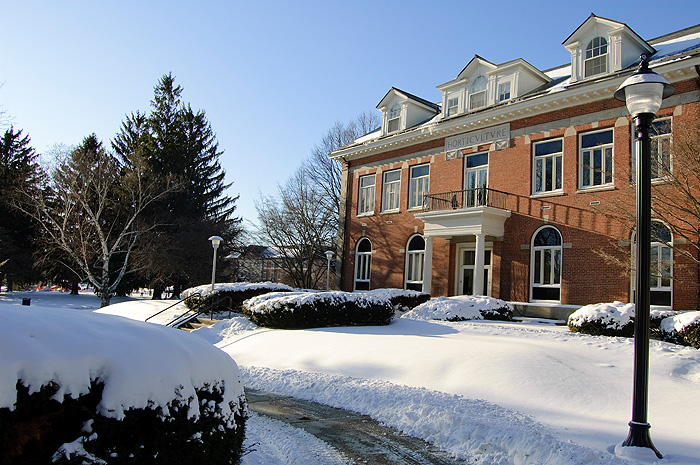 <p>Winter views of the Storrs campus after a weekend snow storm. Shown here is Gulley Hall. Photos by Peter Morenus</p>