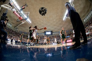 <p>A fisheye lens view of the women's basketball game vs. Notre Dame at Gampel Pavilion. Photo by Peter Morenus</p>