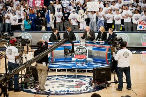 <p>The first ESPN College GameDay broadcast for a women's basketball game was held at Gampel Pavilion on Jan. 16. Photo by Peter Morenus</p>