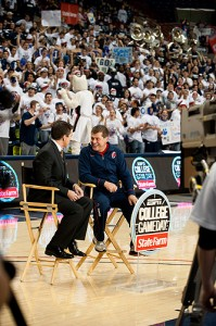<p>ESPN's Rece Davis, left, interviews Coach Geno Auriemma during the first ESPN College GameDay broadcast for a women's basketball game from Gampel Pavilion. Photo by Peter Morenus</p>